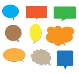 blank empty colors speech bubbles.