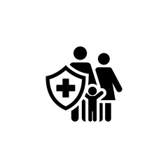 Family Insurance Icon. Flat Design.
