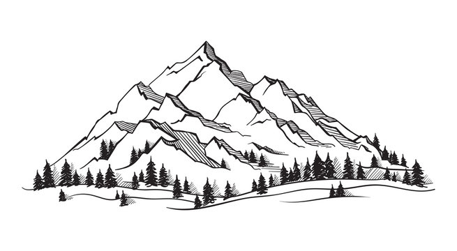 Vector mountain with texture. Sketch illustration with quote. The mountain are calling and i must go