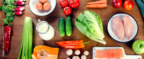 Vegetables, fruit, fish, milk and meat