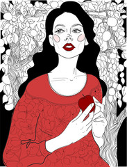 vector Beautiful brunette in a red dress in a garden of apple-trees, snow white