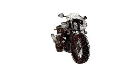 motorcycle model body structure, wire model 3d rendering