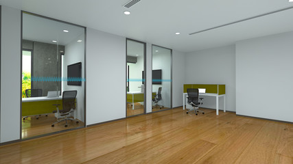 Beautiful working room interior design concept (3D Rendering)