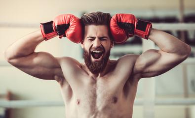 Handsome bearded boxer