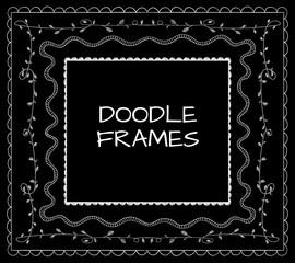 Doodle frames VECTOR set. White on black.