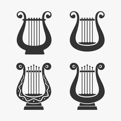 Greek Harp Symbol Vector Illustration