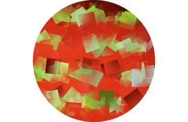 Kubistischer Kreis in grün und rot