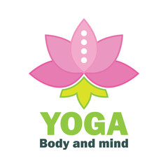 yoga body and mind meditation logo with text space for your slogan / tagline, vector illustration