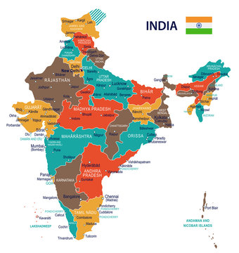 India - map and flag – illustration