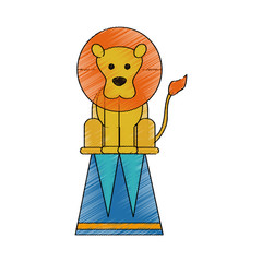 lion on stool circus or carnival icon image vector illustration design