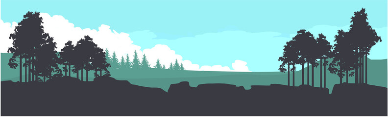 Horizontal mountain forest banner