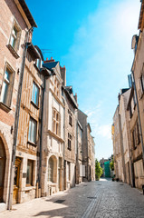 Street with typical houses in Orleans, France