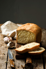 the loaf of garlic bread .style rustic