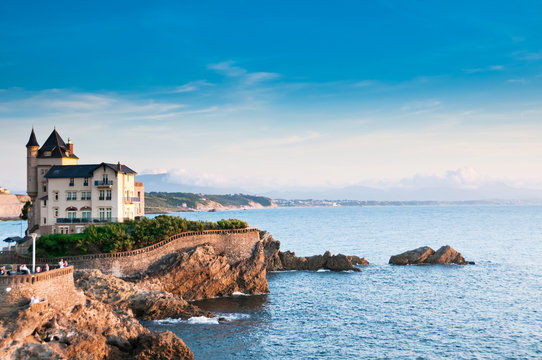 Elegant old house on the cliff in Biarritz, France