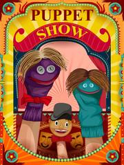 Vintage retro Puppet Show banner poster design