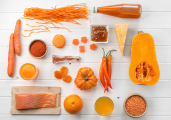 set of orange objects, pumpkin and carrots, topview