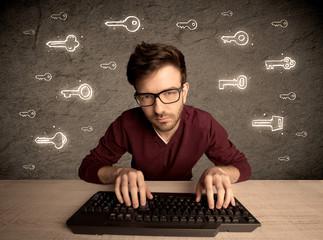 Hacker nerd guy with drawn password keys