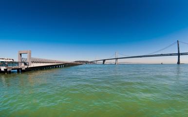Bay Bridge and pier in San Francisco.