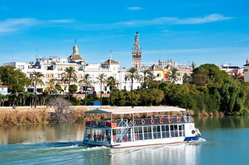 Sevilla view from Triana, river Guadalquivir, Spain
