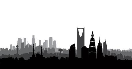 Riyadh city skyline. Cityscape silhouette, landmarks. Urban background