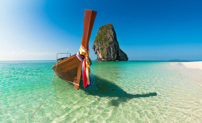 Boat and islands in andaman sea, Thailand