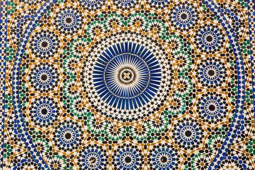 Ornamental mosaic in Meknes Medina, Morocco