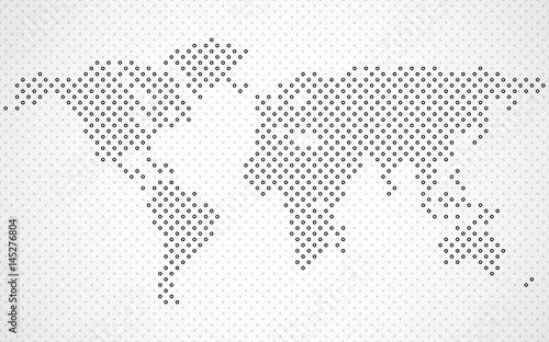 Abstract halftone world map. Dotted map. Vector\
