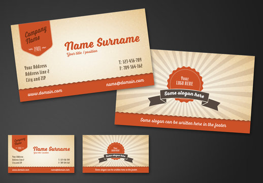 Retro Sunburst Business Card Layout