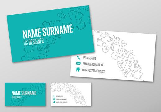 Line Art Tech Business Card Layout