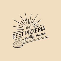 Pizza logo. Vector family pizzeria emblem, icon. Vintage hipster italian food label.