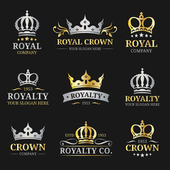 Vector crown logos set. Luxury corona monograms design. Diadem icons illustrations. Used for hotel, restaurant card etc.