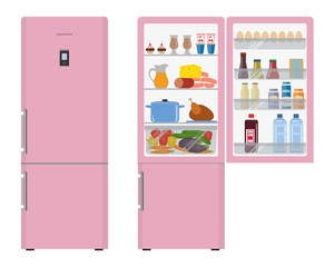 Pink fridge with open doors, a full of food. Vector flat illustration.