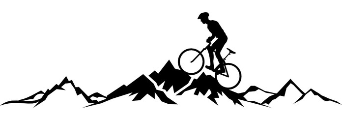 Silhouette Radfahrer Berge