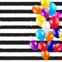 Glossy Happy Birthday Balloons Background Vector Illustration