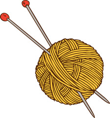 Yellow Yarn Ball and Needles