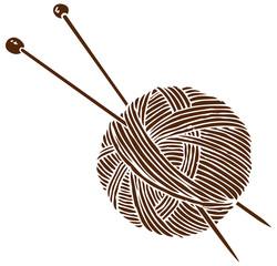 Knitting Logo. Ball and Needles