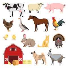 Farm animals set in flat style and related items.
