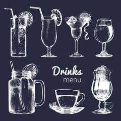 Cocktails,soft drinks and glasses for bar,restaurant,cafe menu. Hand drawn different beverages vector illustrations set.