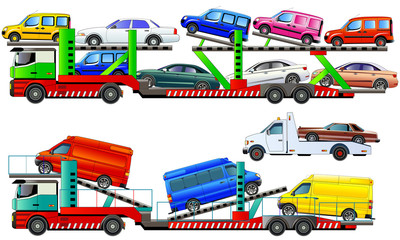 Car carrier trucks deliver new autos, vector illustration