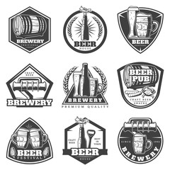 Monochrome Vintage Brewery Labels Set