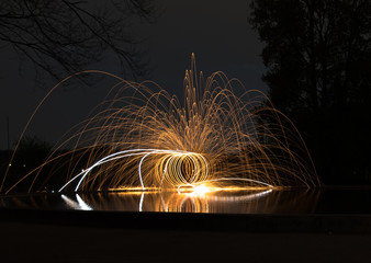 burning steel wool event in the park
