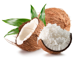 coconuts with coconut flakes isolated on a white background