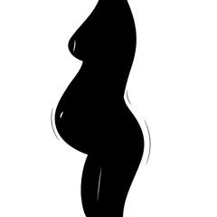 woman pregnancy, body silhouette, illustration, vector