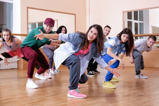 Group of young hip-hop dancers in studio