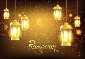 Beautiful lanterns with bright lights and glitter. Vector illustration to the Muslim holiday of Ramadan.
