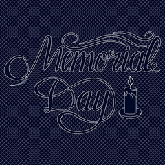 Vector Memorial Day card with lettering. Festive poster or banner hand .