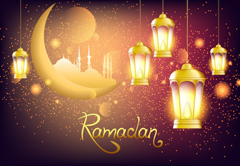 Beautiful lantern with bright lights and glitter. Vector illustration with moon and mosque to the Muslim holiday of Ramadan.