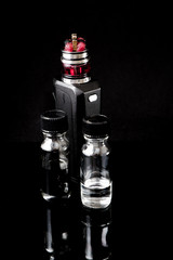 Electronic cigarette with 2 bottles