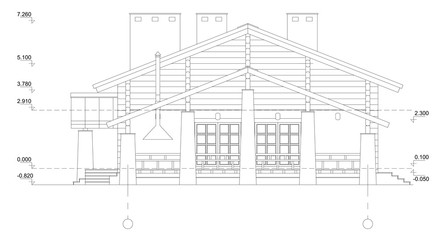 Vector isolated.Fragment of a facade of the wooden building.