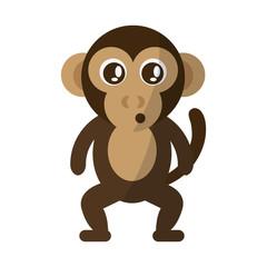 monkey animal cartoon icon over white background. colorful design. vector illustration